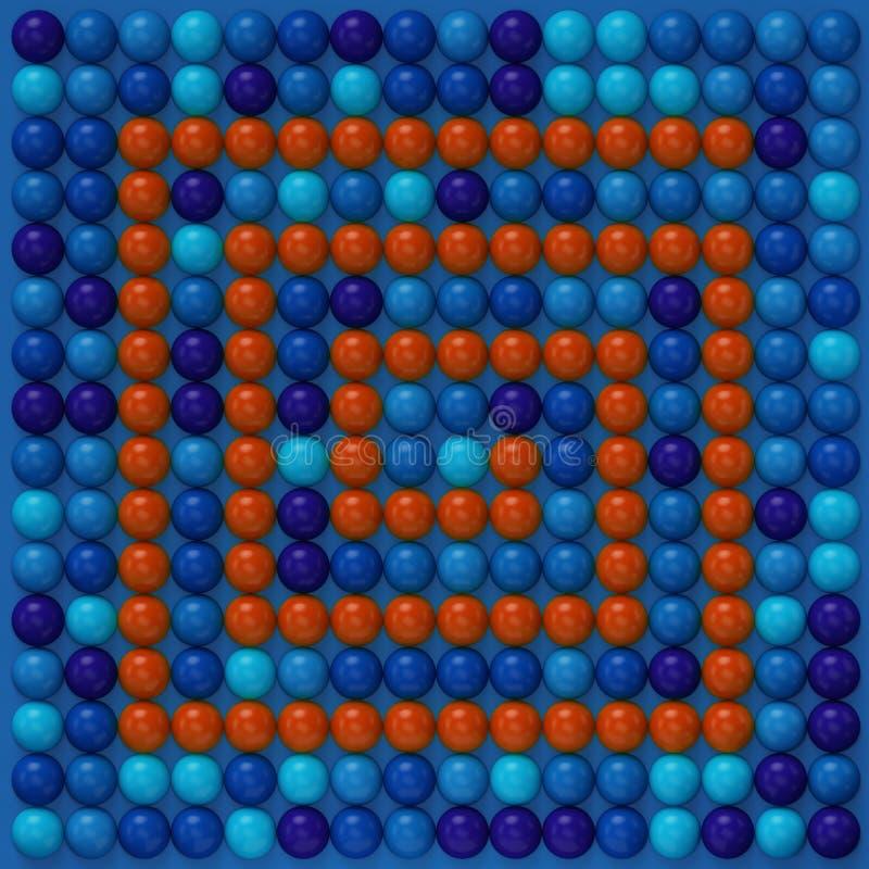 Illustation colorido das esferas, as azuis e as vermelhas das cores 3d ilustração do vetor