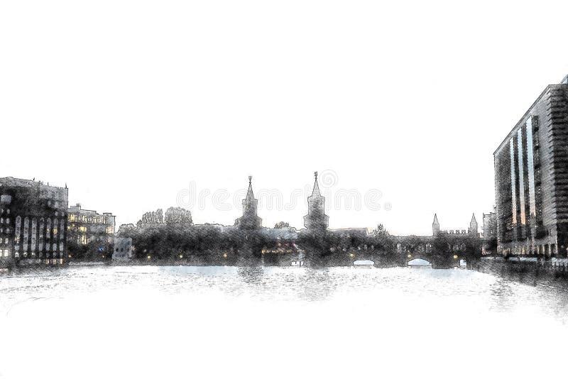Illustation creativo - puente con el castillo se eleva - - puente de Oberbaum - Berlín aislada stock de ilustración