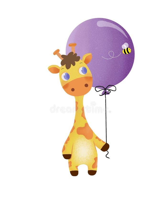 Illustation de Giraf com um Baloon ilustração royalty free