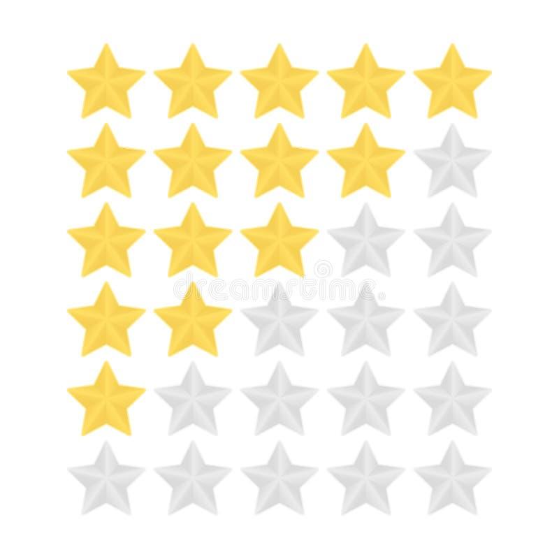 Illustation de vecteur d'étoile du rang cinq Icônes de évaluation d'or et d'étoile argentée illustration libre de droits