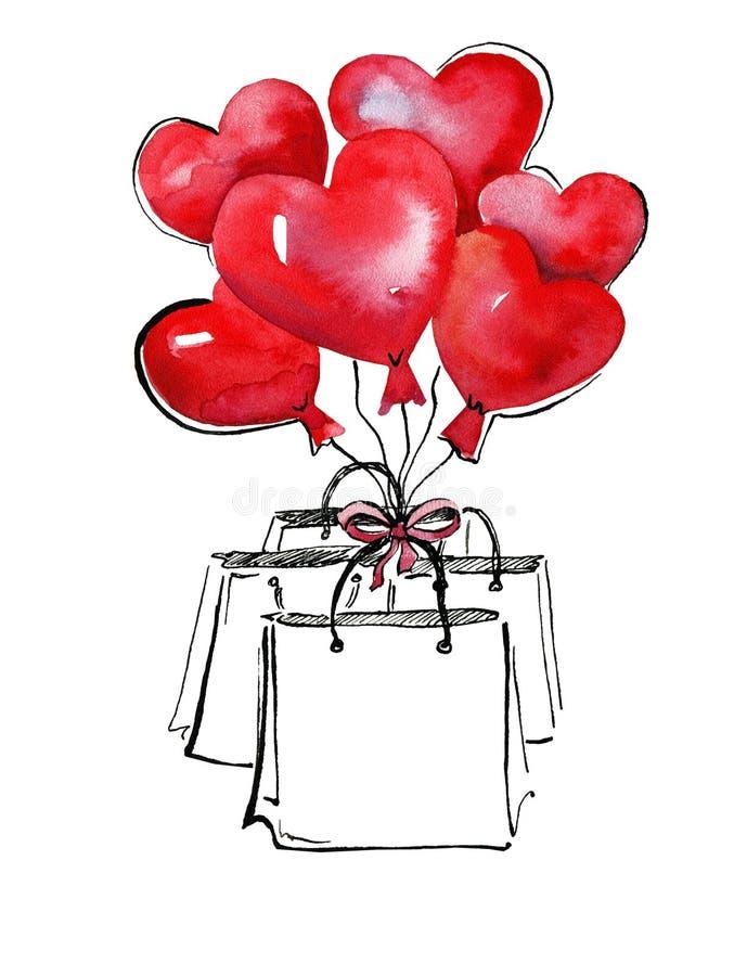 Illustation dell'acquerello Borse del regalo con i palloni in forma di cuore Cuore verde stilizzato dell'illustrazione di vettore illustrazione vettoriale