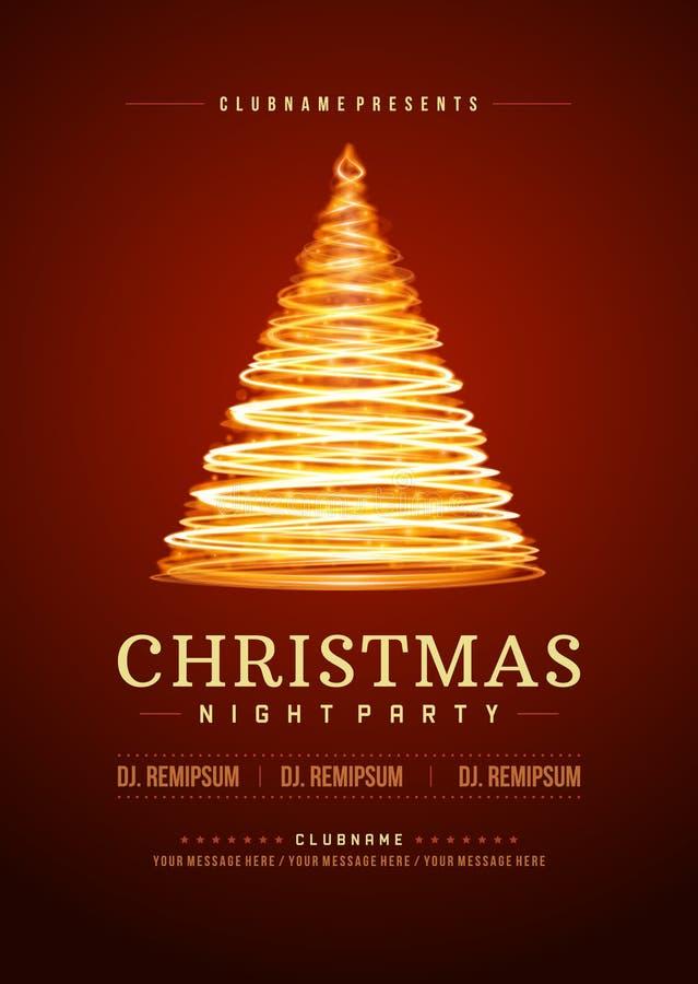 Illustation retro de la tipografía de la invitación de la fiesta de Navidad ilustración del vector