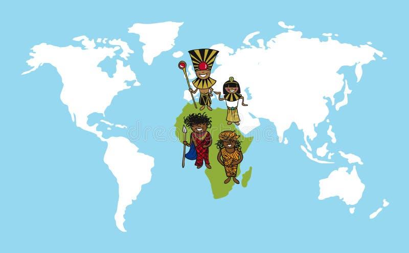Illustr de diversité de carte du monde de bandes dessinées de personnes de l'Afrique illustration de vecteur