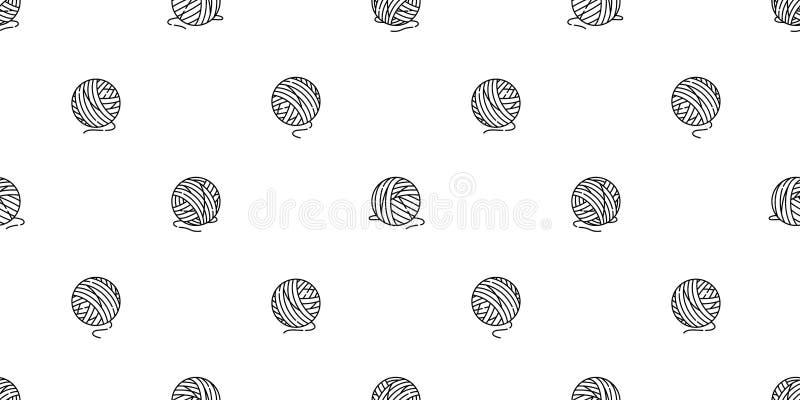 Illustr för tecknad film för bakgrund för tegelplatta för tapet för leksak för katt för stickor för garnnystan för vektor för mod vektor illustrationer