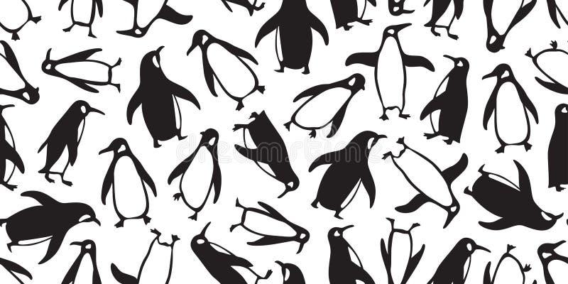 Illustr isolado da garatuja do papel de parede da repetição do fundo da telha do pássaro dos peixes dos salmões do urso dos desen ilustração stock