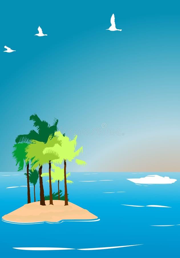Illustr tropicale di vettore dell'isola illustrazione di stock