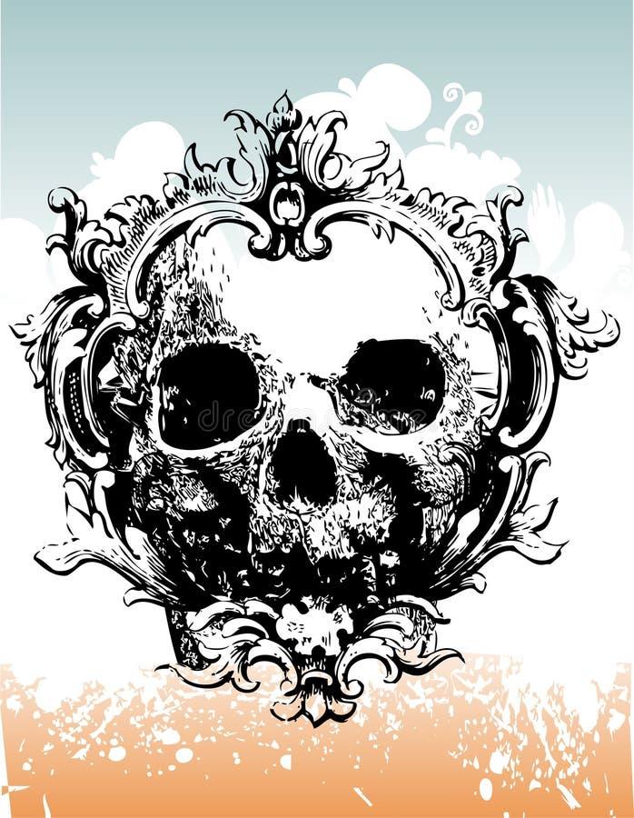 Illustra couronné diminué de crâne illustration stock