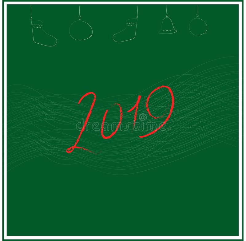 Illustraation del vector tarjeta gretting con Feliz Navidad del texto stock de ilustración