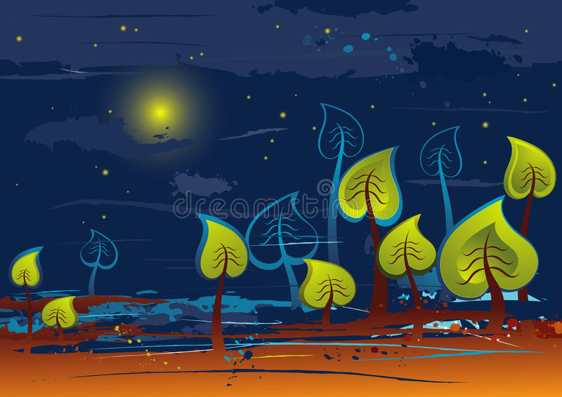 Illustracion with trees,vector stock illustration