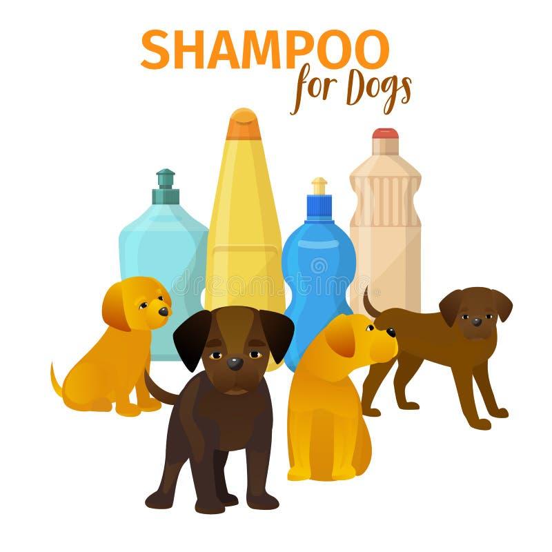 Illustraion animal del vector del salón de la preparación Cartel de la higiene del pelo de perro Bandera del concepto de la tiend stock de ilustración