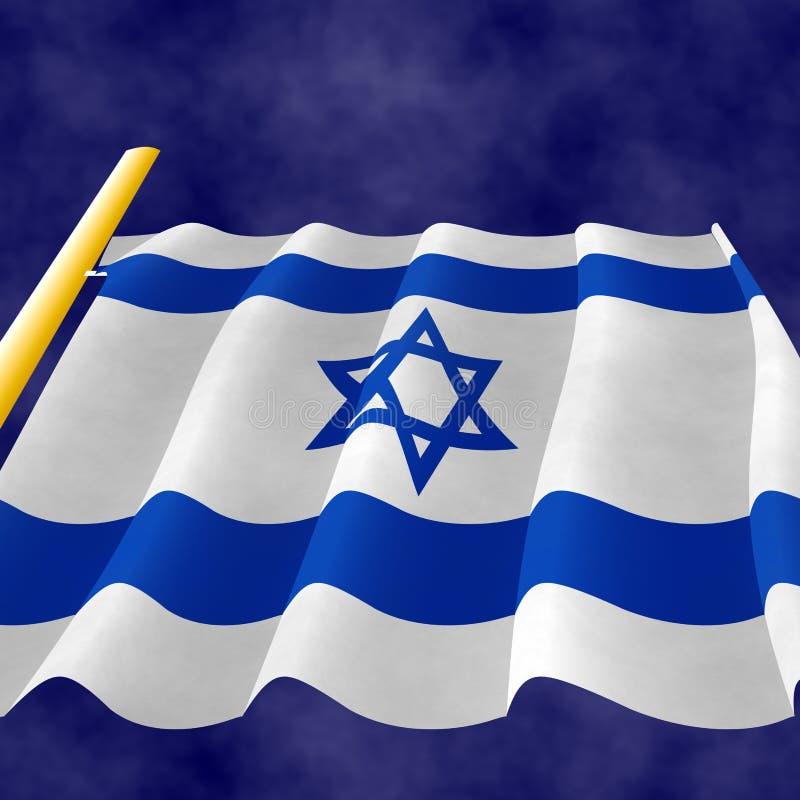 Illustraion d'un drapeau israélien de vol sur le mât de drapeau illustration stock