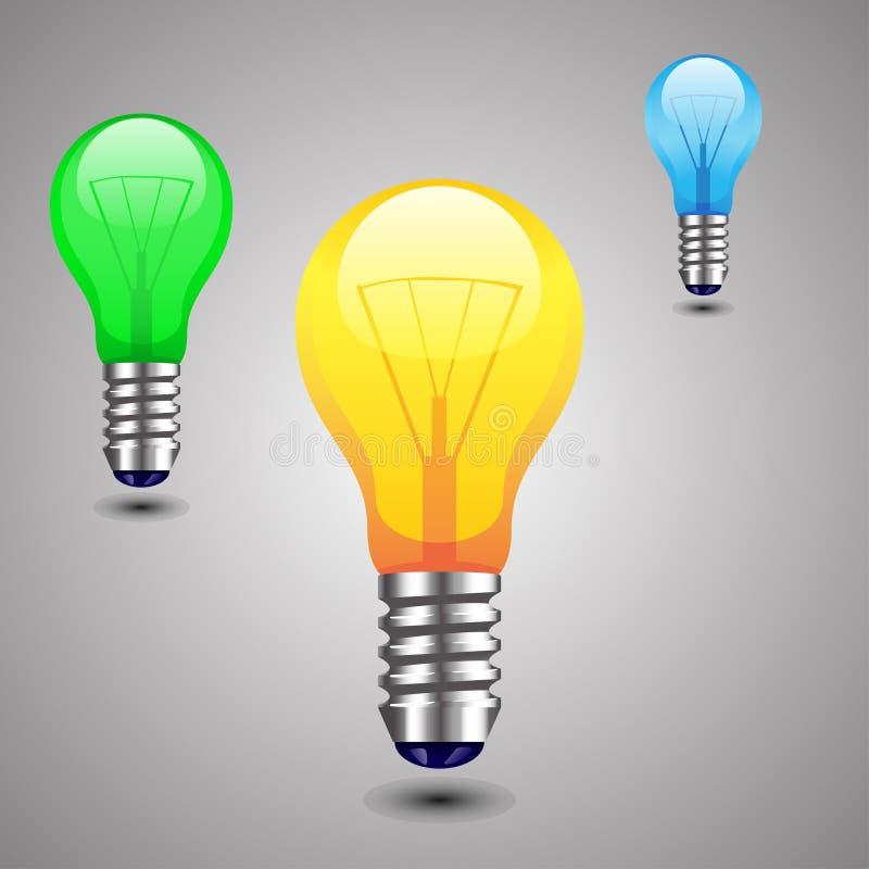 Illustraion de la lámpara coloreada que se coloca con la sombra ilustración del vector