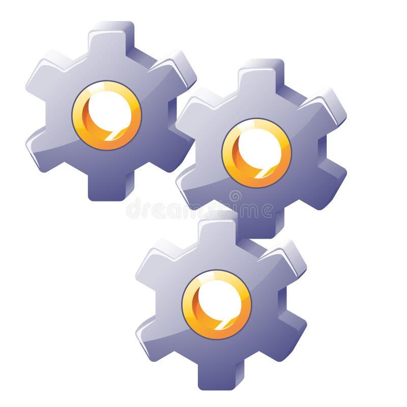 Illustraion de las ruedas dentadas de acero coloreadas stock de ilustración