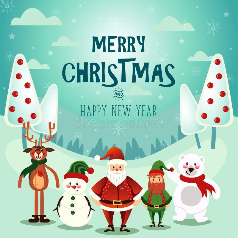 Illustraion do vetor da cena da neve do Natal ilustração do vetor
