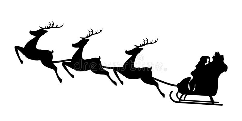 Santa sled silhouette. Illustraion of santa sitting in sled with deers silhouette isolated on white background vector illustration