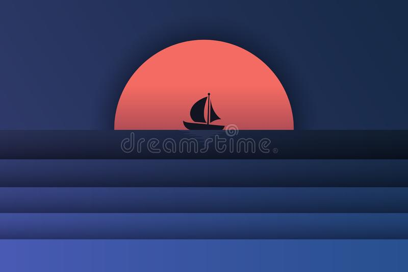 Illustraion of sea view and sunset in the evening with a mercusuar and the spotlight in the sea. Beautiful sunset seascape. paper vector illustration