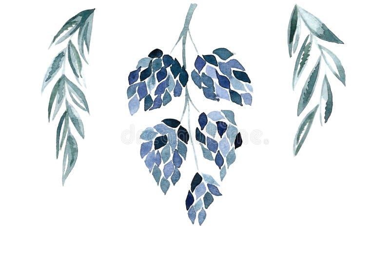 Illustralion floral azul stock de ilustración