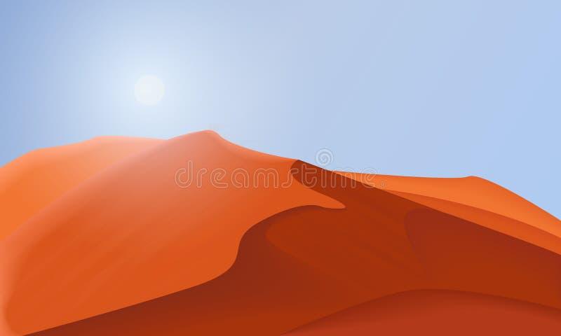 Illustrarion för ökenlandskapbakgrund, design av dyn och himmel royaltyfri illustrationer