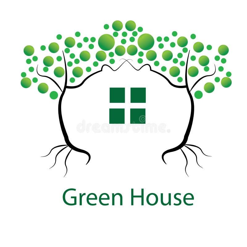 Illustrasi gräsplandesign eller grönt hus royaltyfri bild