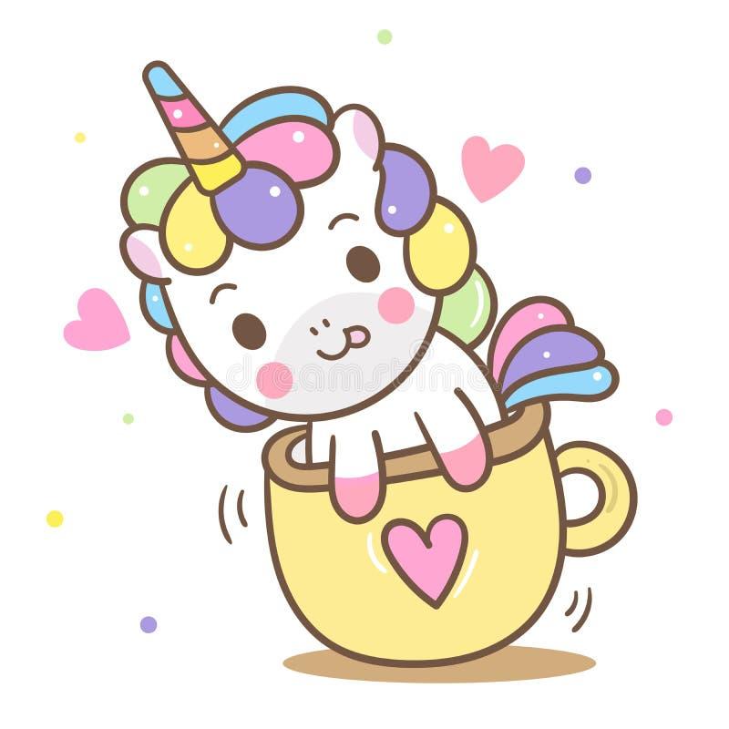 Illustratör av den gulliga enhörningvektorn i den mini- koppen, Kawaii ponnytecknad film, barnkammaregarnering vektor illustrationer
