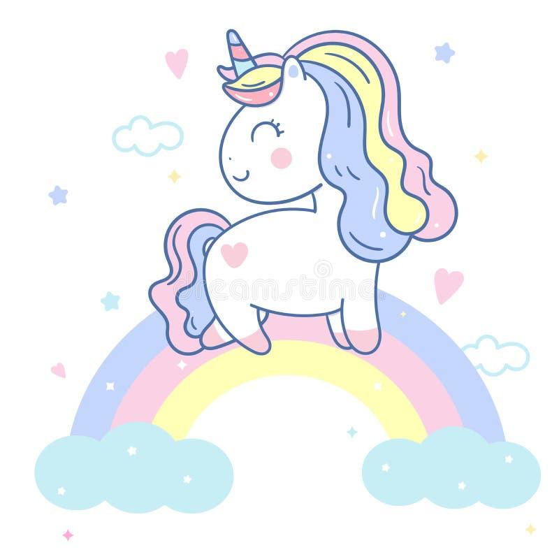 Illustratör av den gulliga enhörningvektorn på himlen och den söta regnbågen, Kawaii ponnytecknad film, klotterbarnkammaregarneri royaltyfri illustrationer