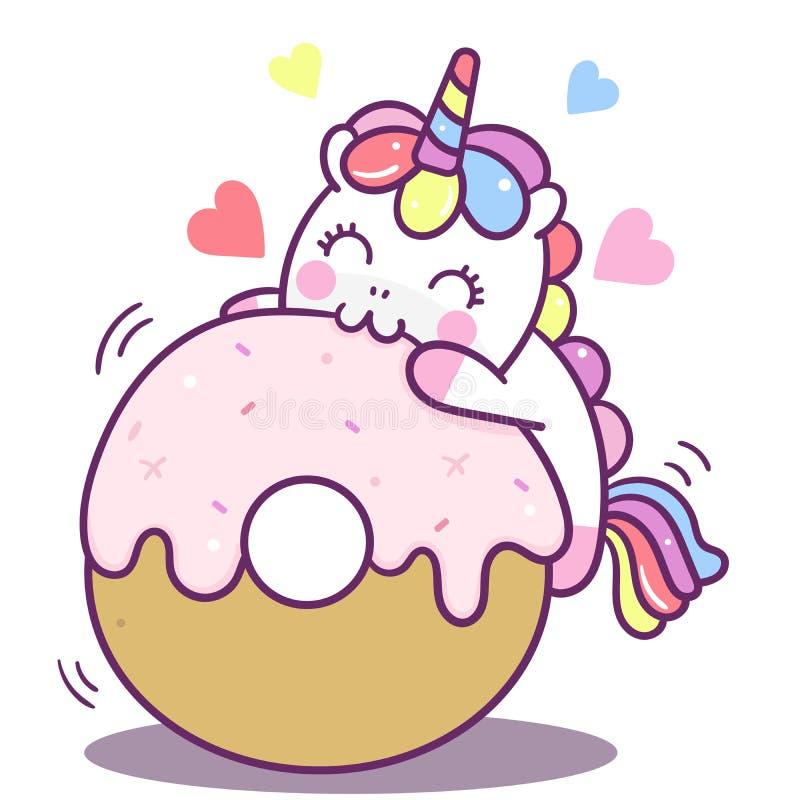 Illustratör av det gulliga kortet för lycklig födelsedag för kaka för enhörningvektormunk, Kawaii ponnytecknad film, klotter, bar stock illustrationer