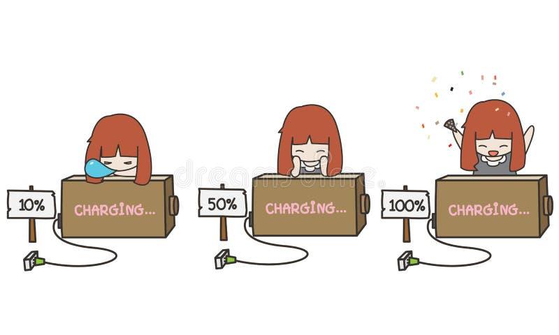 Illustratör av en gullig batteriuppladdning stock illustrationer
