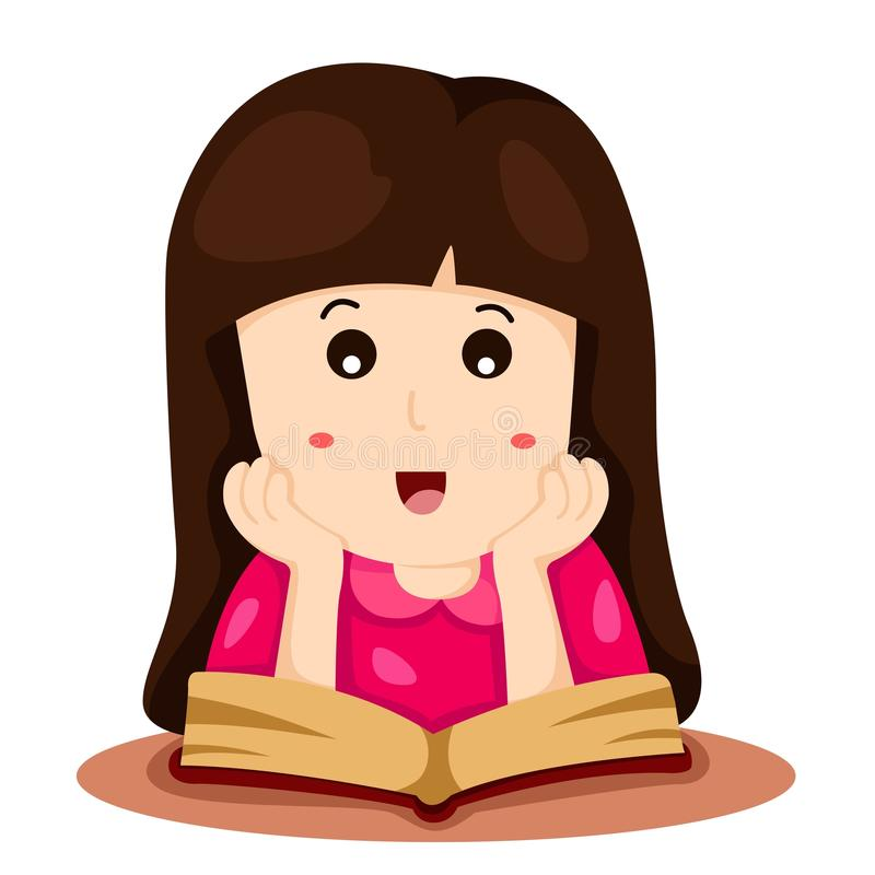 Illustratör av flickan som läser en bok stock illustrationer
