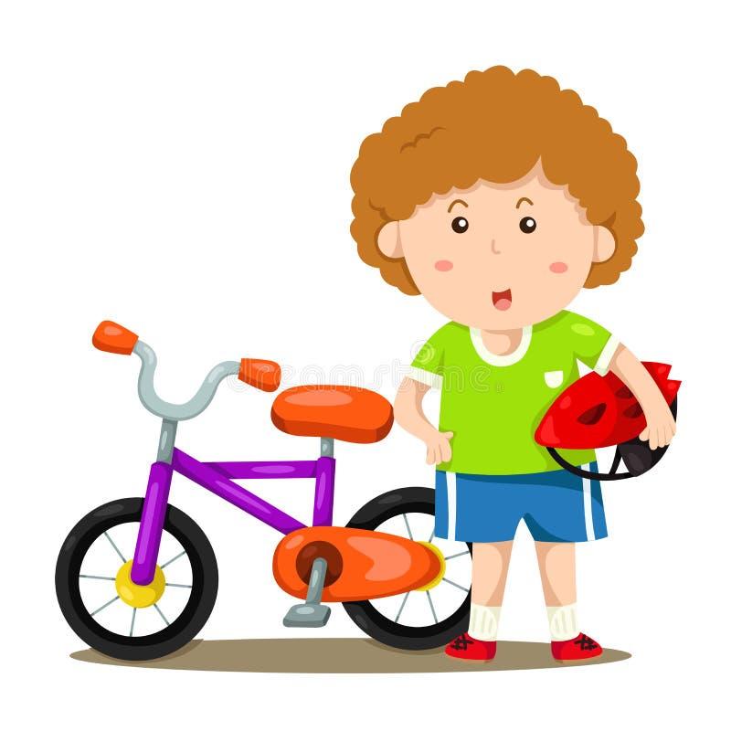 Illustratör av pojken och cykeln stock illustrationer