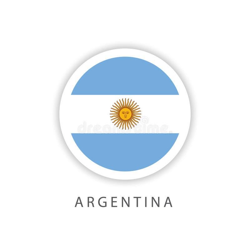 Illustrat?r f?r design f?r mall f?r vektor f?r Argentina knappflagga stock illustrationer