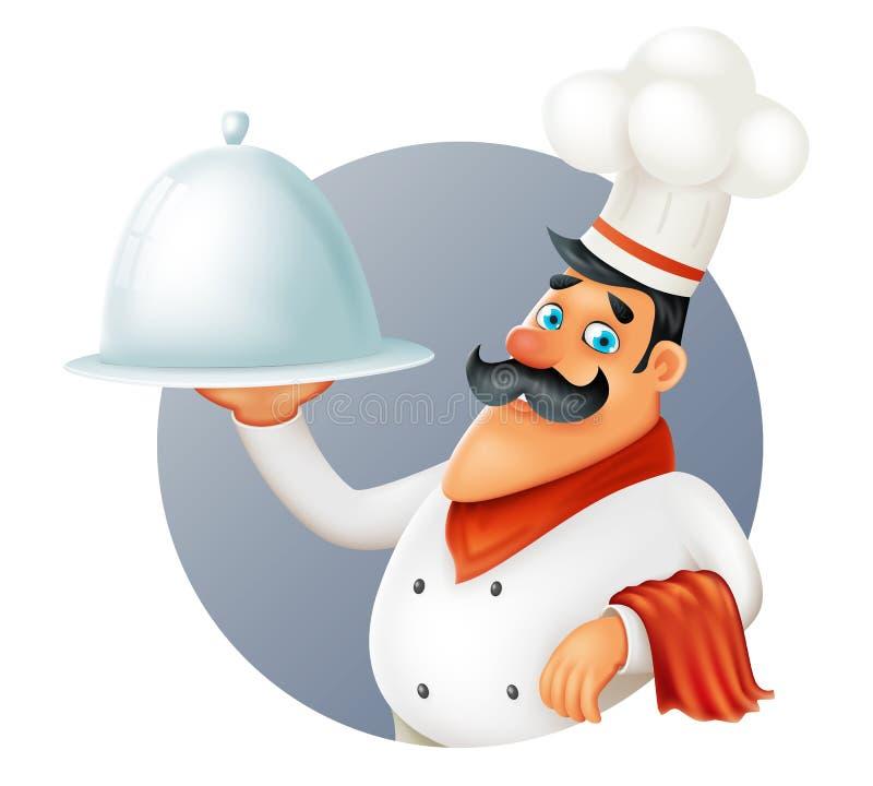Illustratör för vektor för design för tecken för maskot för tecknad film för mat 3d för portion för restaurangkockkock royaltyfri illustrationer