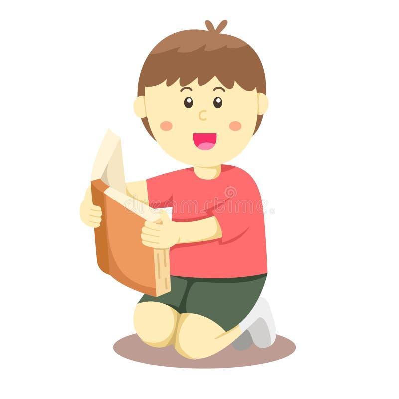 Illustratören av pojken läste en bok vektor illustrationer