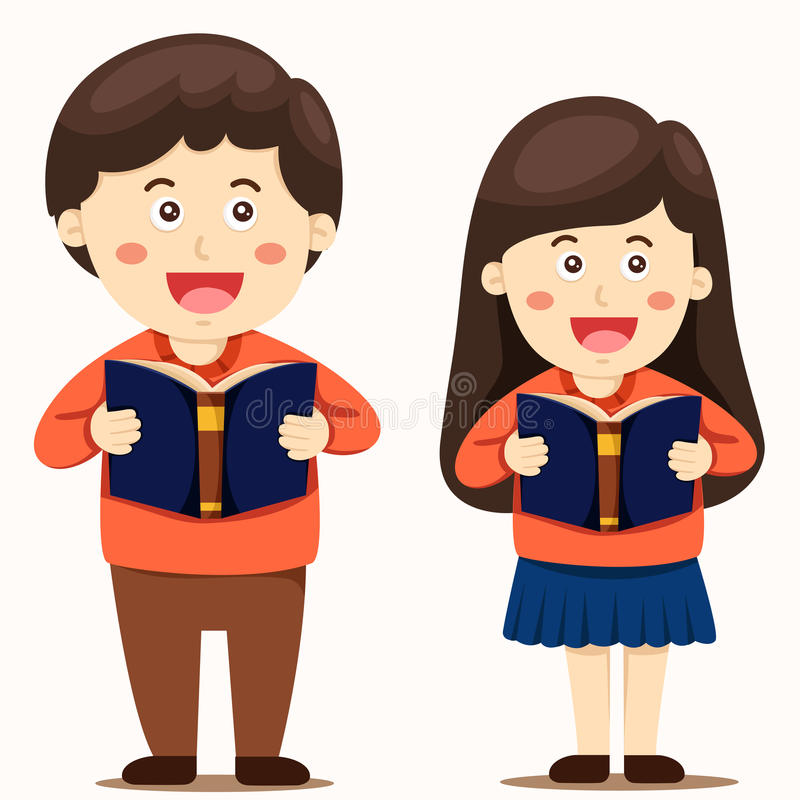 Illustratören av pojken och flickan läste en bok stock illustrationer