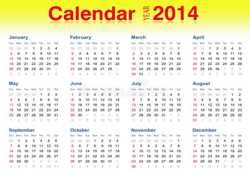 illustratörvektor för 2014 kalender vektor illustrationer