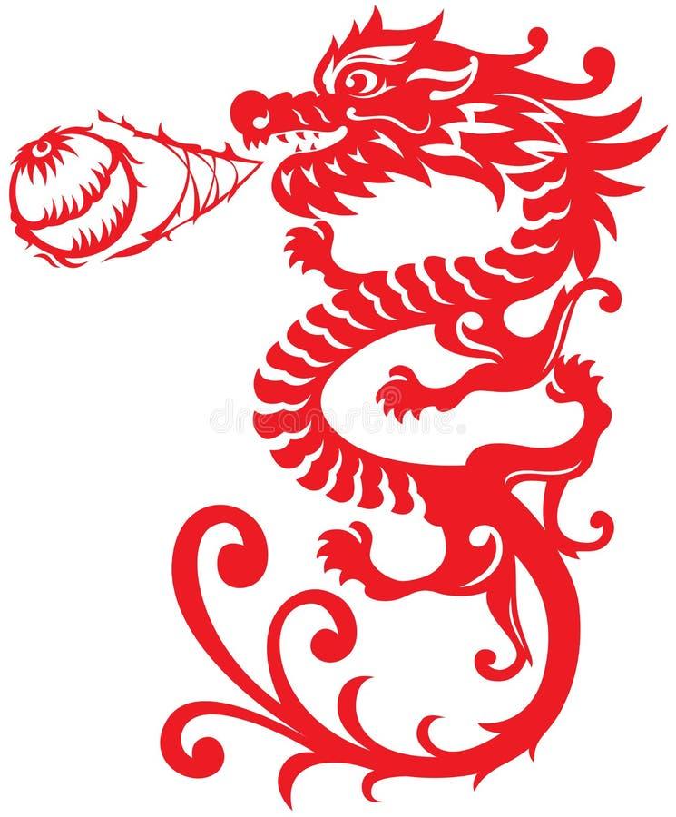 Illustrat de Dragon Breathing Fire Ball de style chinois illustration libre de droits