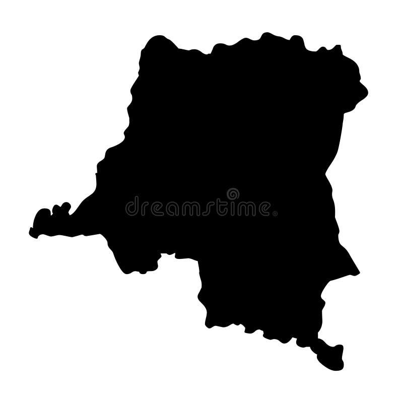 Illustrat del vector de la silueta del mapa de República Democrática del Congo stock de ilustración