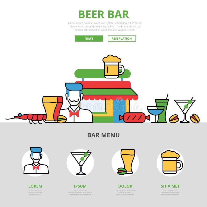 Illustrat linear do infographics da barra da cerveja lisa ilustração stock