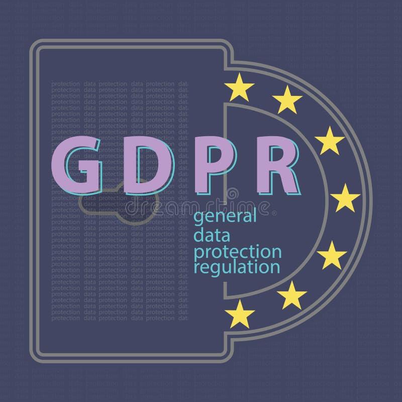 Illustrat réglementaire de vecteur de concept de protection des données générale de GDPR image libre de droits