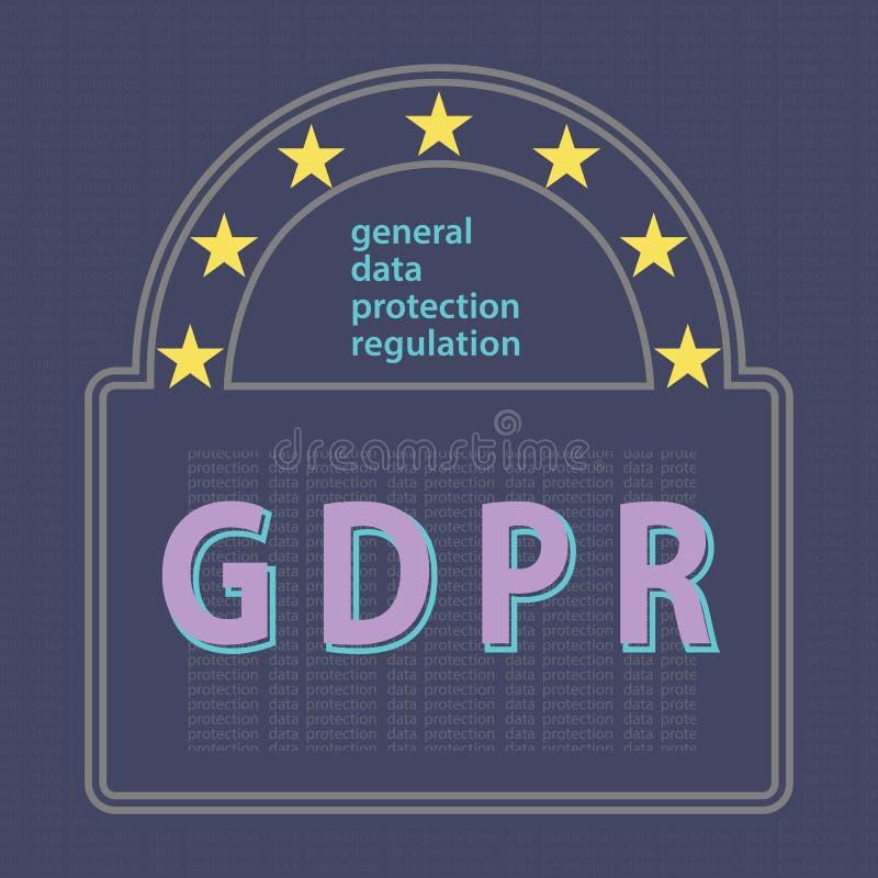 Illustrat regulamentar do vetor do conceito da proteção de dados geral de GDPR ilustração royalty free