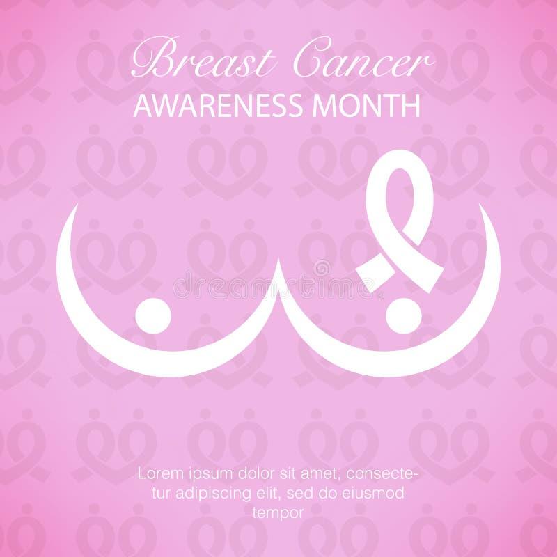 Illustrat rose d'icône de symbole de conscience de cancer du sein de ruban illustration libre de droits