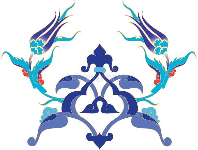 Illustrat turco del azulejo del otomano antiguo tradicional ilustración del vector