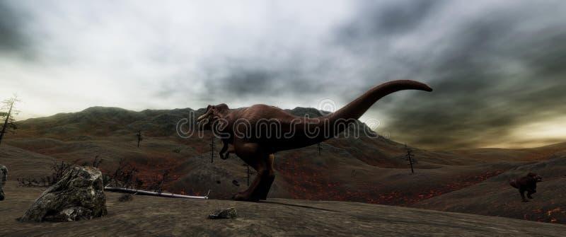 Illustratation di alta risoluzione estremamente dettagliato e realistico 3d di un dinosauro di T-Rex durante l'estinzione dei din illustrazione vettoriale