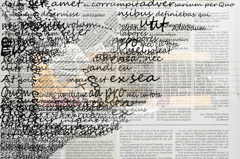 Abstract Fonts Newspaper Illustration. Illustrated abstract newspaper collage letters and different letters fonts background royalty free illustration
