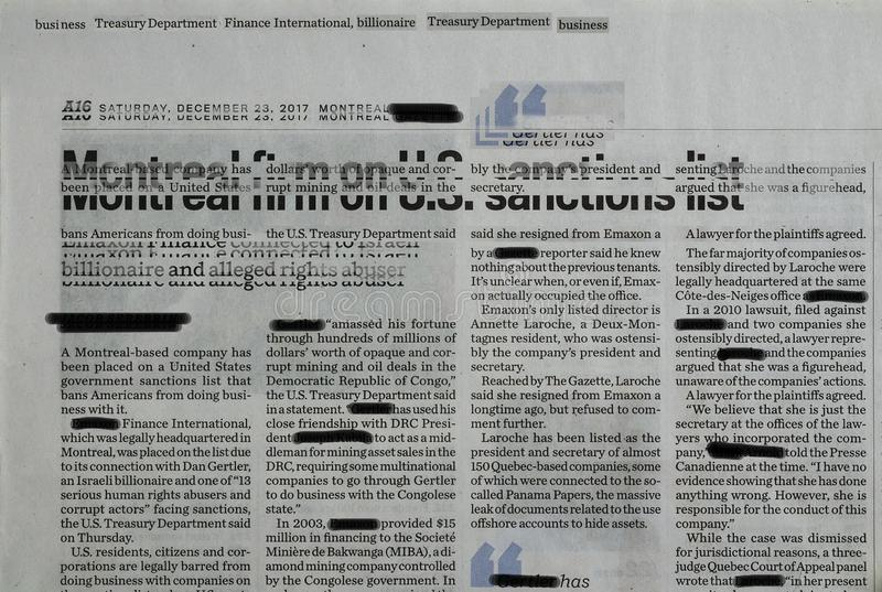 Censored Montreal firm newspaper collage. Illustrated abstract newspaper collage letters and different letters fonts and hidden words background royalty free illustration