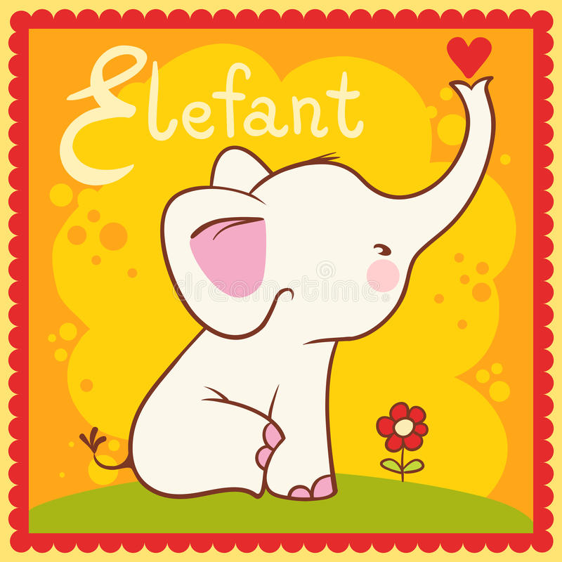 Illustrated Alphabet Letter E And Elephant. Royalty Free Stock Images
