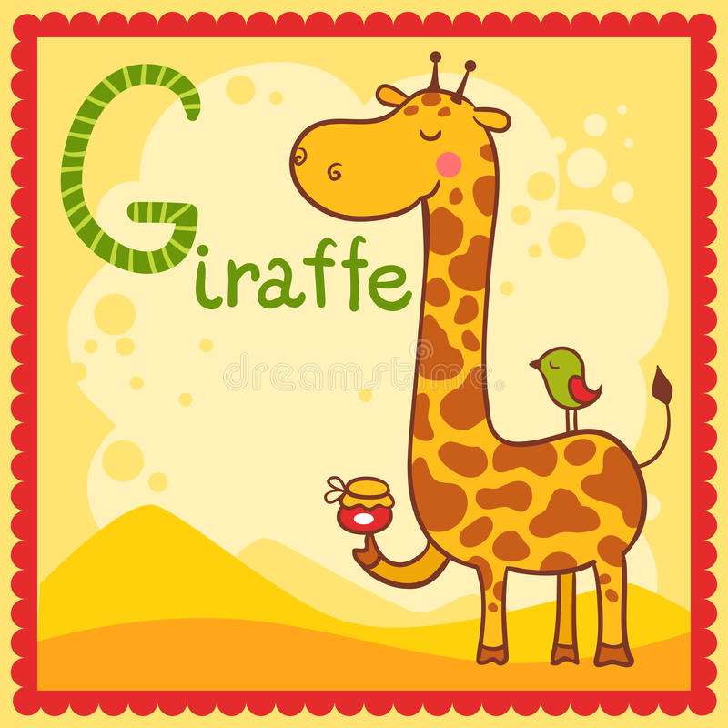 Illustrated Alphabet Letter G And Giraffe. Stock Photo