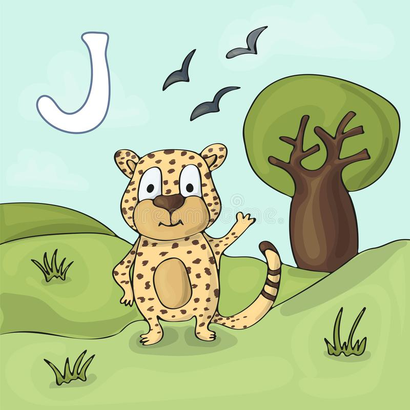Illustrated alphabet letter J and Jaguar. ABC book image vector cartoon. Jaguar stands near the hill and waving his paw vector illustration