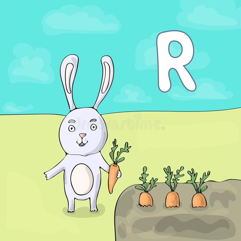 Illustrated alphabet letter R and Rabbit. ABC book image vector cartoon. A white rabbit with a carrot stands near the royalty free illustration