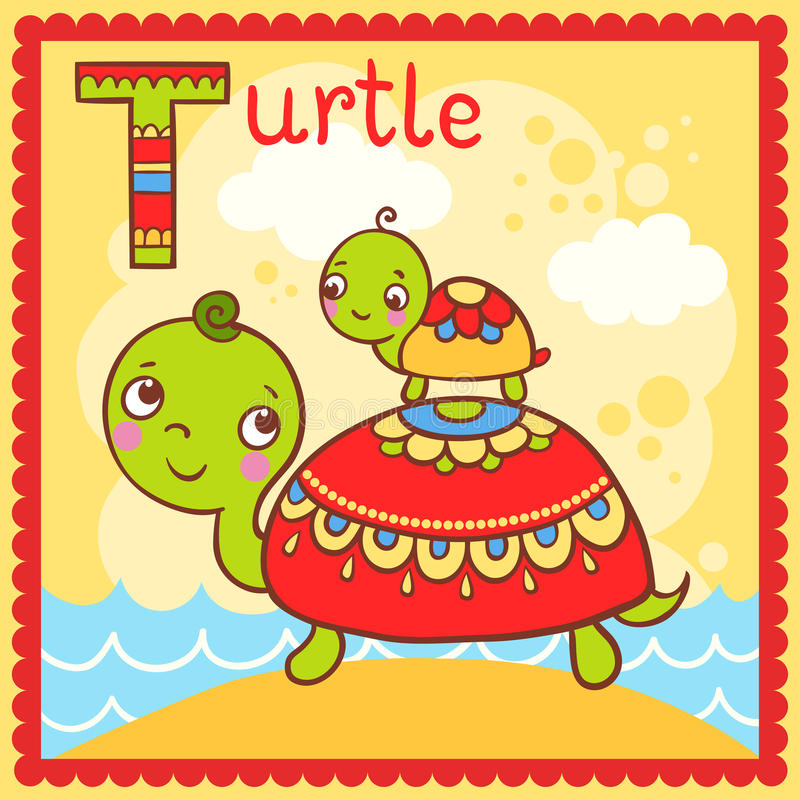 Illustrated alphabet letter T and turtle. vector illustration