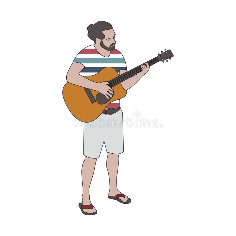 Illustrated bearded man playing guitar royalty free illustration